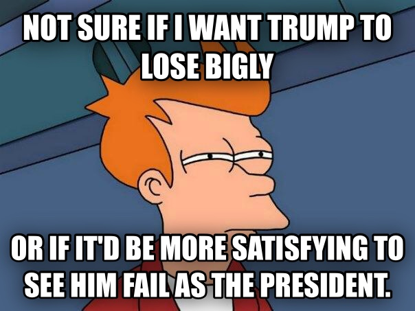 Futurama Fry not sure if i want trump to lose bigly or if it d be more satisfying to see him fail as the president.  , made with livememe meme maker
