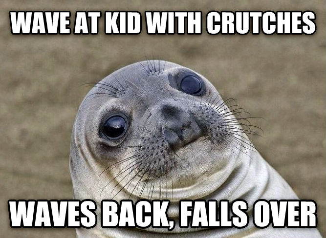 Uncomfortable Situation Seal wave at kid with crutches waves back, falls over , made with livememe meme maker