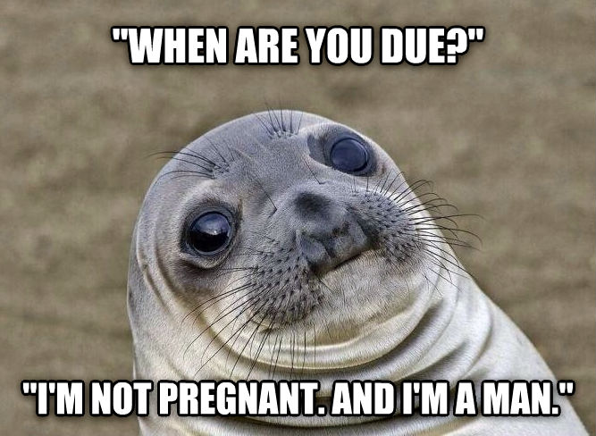 Uncomfortable Situation Seal  when are you due?   i m not pregnant. and i m a man.  , made with livememe meme creator