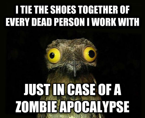 Weird Stuff I Do Potoo i tie the shoes together of every dead person i work with just in case of a zombie apocalypse  , made with livememe meme maker