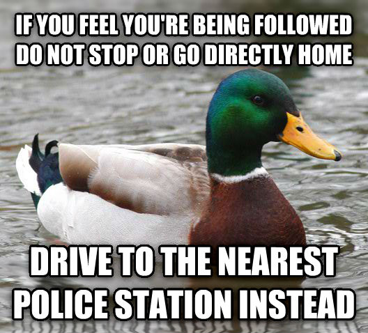 Actual Advice Mallard if you feel you re being followed do not stop or go directly home drive to the nearest police station instead , made with livememe meme maker