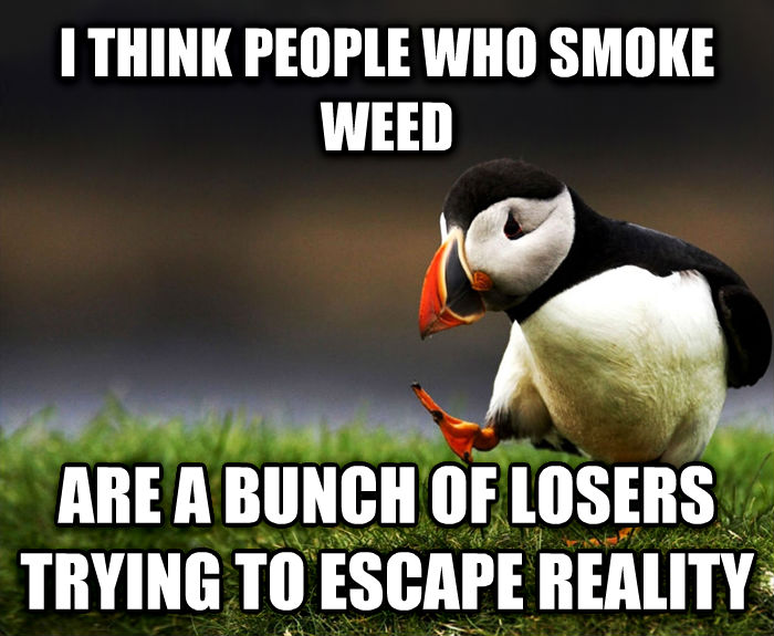 Unpopular Opinion Puffin i think people who smoke wood are a bunch of losers trying to escape reality , made with livememe meme maker
