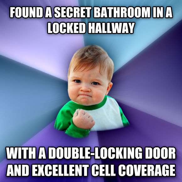 Success Kid found a secret bathroom in a locked hallway with a double-locking door and excellent cell coverage  , made with livememe meme creator