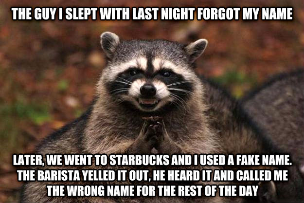 Evil Plotting Raccoon the guy i slept with last night forgot my name later, we went to starbucks and i used a fake name. the barista yelled it out, he heard it and called me the wrong name for the rest of the day , made with livememe meme maker