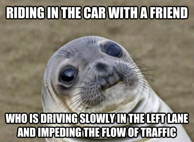 Uncomfortable Situation Seal riding in the car with a friend who is driving slowly in the left lane and impeding the flow of traffic , made with livememe meme generator