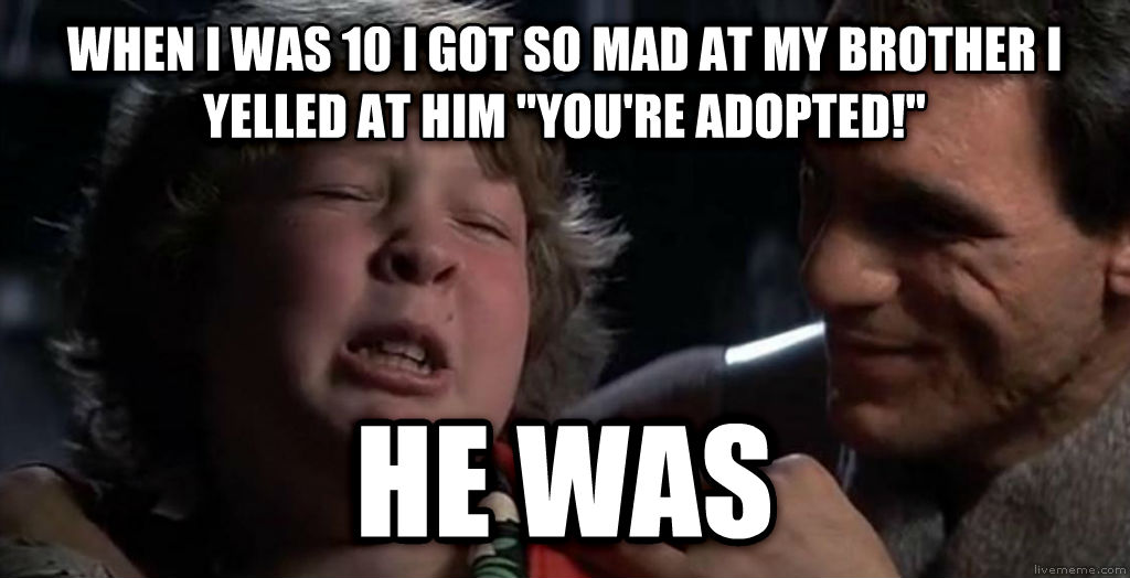 Childhood COnfession Chunk when i was 10 i got so mad at my brother i yelled at him  you re adopted!  he was , made with livememe meme creator