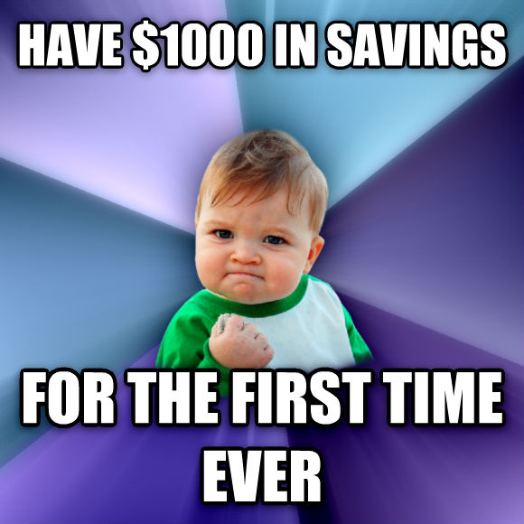 Success Kid have $1000 in savings  for the first time ever  , made with livememe meme generator