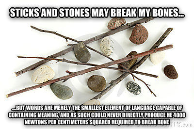Sticks and Stones sticks and stones may break my bones...    .but words are merely the smallest element of language capable of containing meaning, and as such could never directly produce he 4000 newtons per centimeters squared required to break bone , made with livememe meme maker