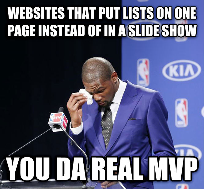You Da Real MVP. websites that put lists on one page instead of in a slide show you da real mvp , made with livememe meme creator