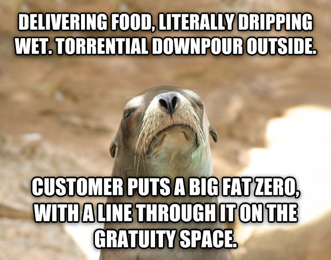 Dissatisfied Seal delivering food, literally dripping wet. torrential downpour outside.  customer puts a big fat zero, with a line through it on the gratuity space.  , made with livememe meme creator