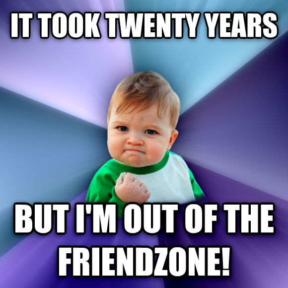 Success Kid it took twenty years but i m out of the friendzone!   , made with livememe meme maker
