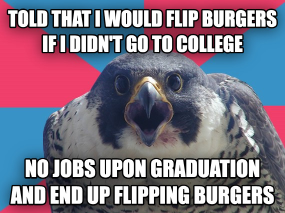 So much for that college ROI.