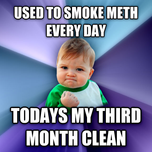 Success Kid used to smoke meth every day todays my third month clean  , made with livememe meme generator