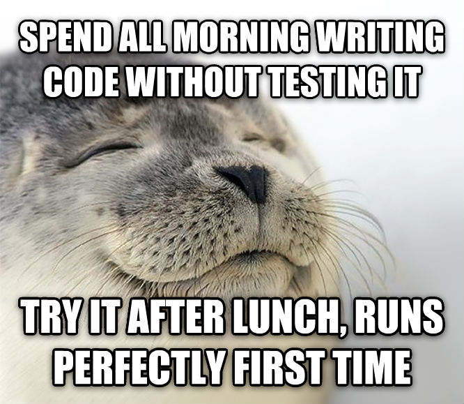 Seal of Approval spend all morning writing code without testing it try it after lunch, runs perfectly first time , made with livememe meme maker
