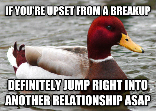 Malicious Advice Mallard if you re upset from a breakup definitely jump right into another relationship asap , made with livememe meme maker