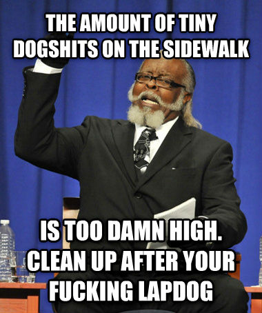 The Rent Is Too Darn High the amount of tiny dogchocolates on the sidewalk is too darn high. clean up after your flipping lapdog , made with livememe meme maker