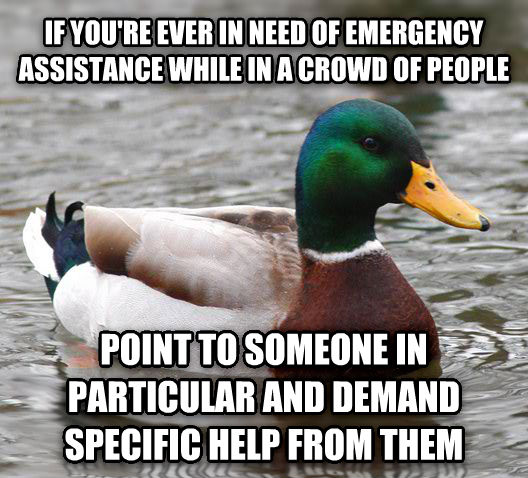 Actual Advice Mallard if you re ever in need of emergency assistance while in a crowd of people point to someone in particular and demand specific help from them , made with livememe meme generator