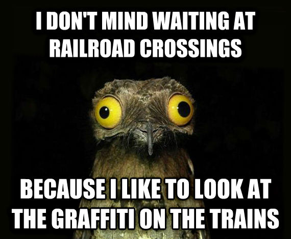 Weird Stuff I Do Potoo i don t mind waiting at railroad crossings because i like to look at the graffiti on the trains , made with livememe meme maker