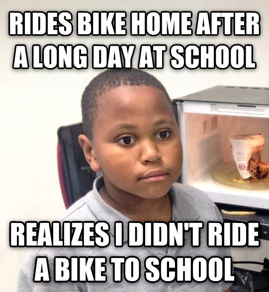 Minor Mistake Marvin rides bike home after a long day at school realizes i didn t ride a bike to school , made with livememe meme creator