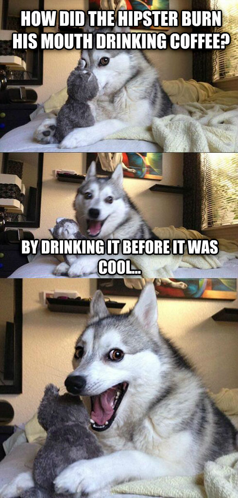 PunDog how did the hipster burn his mouth drinking coffee? by drinking it before it was cool... , made with livememe meme maker