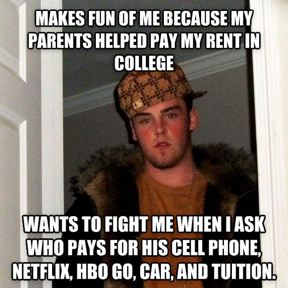 Scumbag Steve makes fun of me because my parents helped pay my rent in college wants to fight me when i ask who pays for his cell phone, netflix, hbo go, car, and tuition. , made with livememe meme generator