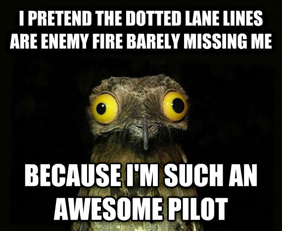 Weird Stuff I Do Potoo i pretend the dotted lane lines are enemy fire barely missing me because i m such an awesome pilot , made with livememe meme generator