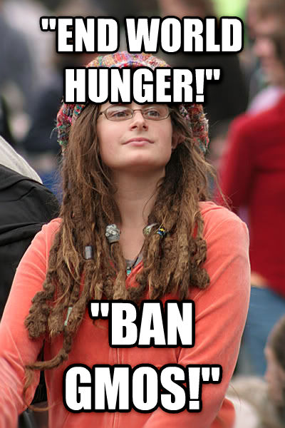 College Liberal  end world hunger!   ban gmos!  , made with livememe meme creator