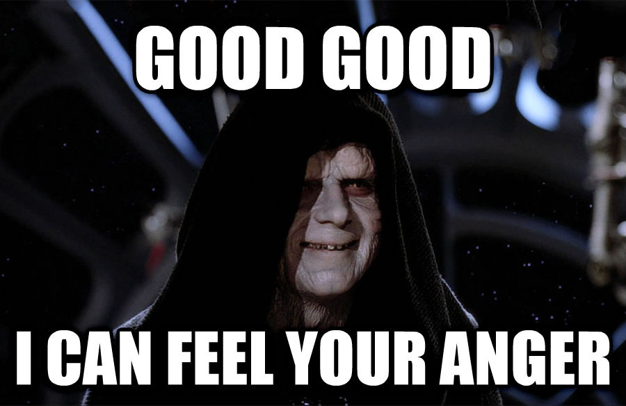 Emperor Palpatine - Good, Good, Let The Hate Flow Through You good good i can feel your anger , made with livememe meme maker