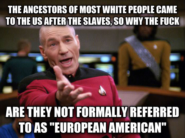 Annoyed Picard 1080p the ancestors of most white people came to the us after the slaves, so why the heck are they not formally referred to as  european american   , made with livememe meme maker
