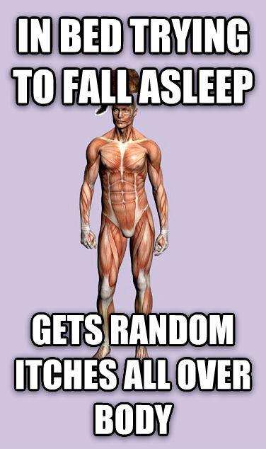 Scumbag Body in bed trying to fall asleep gets random itches all over body , made with livememe meme generator