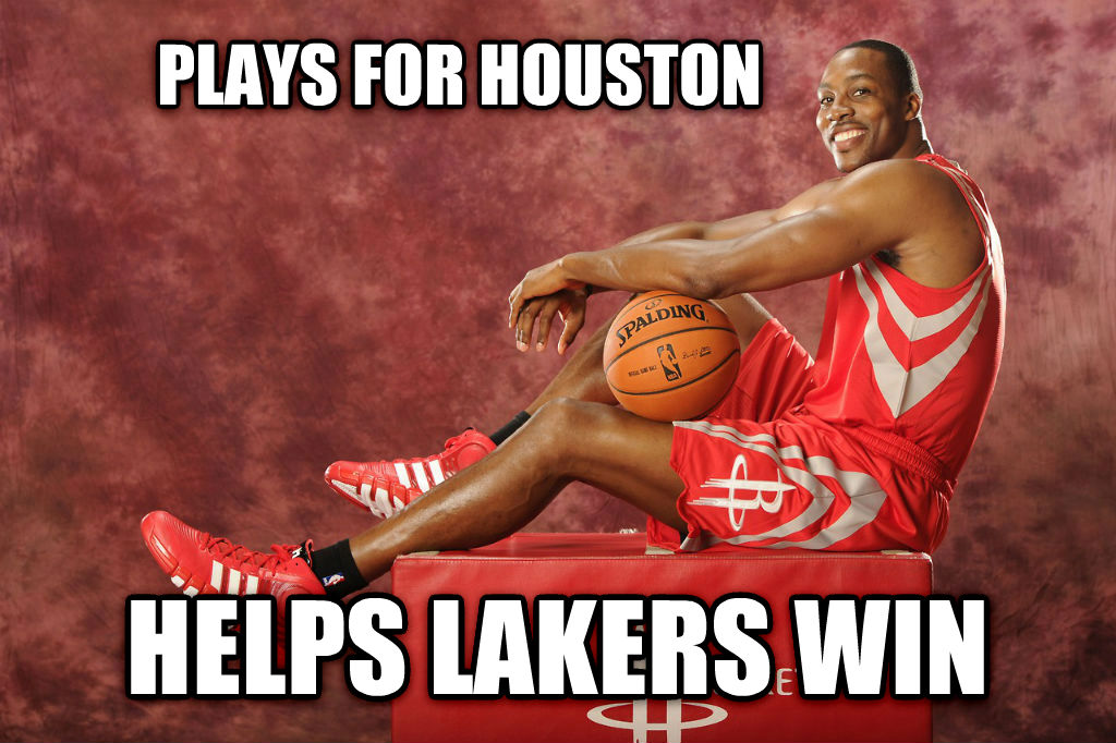 dwight plays for houston helps lakers win , made with livememe meme creator