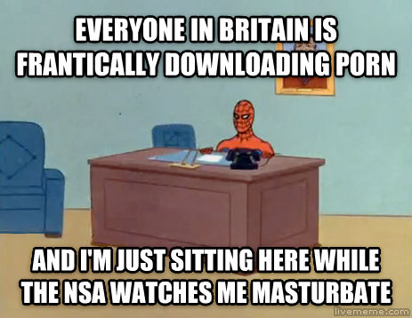 Relaxing Spiderman everyone in britain is frantically downloading photo and i m just sitting here while the nsa watches me relax , made with livememe meme creator