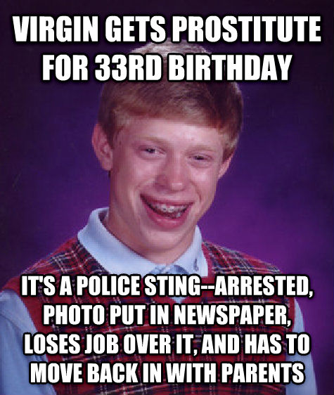 Bad Luck Brian virgin gets substitute for 33rd birthday it s a police sting--arrested, photo put in newspaper, loses job over it, and has to move back in with parents , made with livememe meme maker