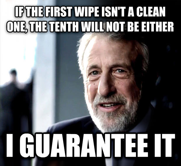 I Guarantee It if the first wipe isn t a clean one, the tenth will not be either i guarantee it , made with livememe meme creator