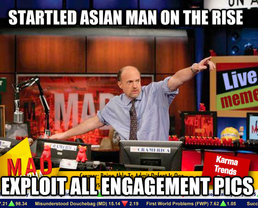 Mad Karma with Jim Cramer startled asian man on the rise exploit all engagement pics , made with livememe meme maker