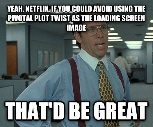 That d be great yeah, netflix, if you could avoid using the pivotal plot twist as the loading screen image that d be great , made with livememe meme creator