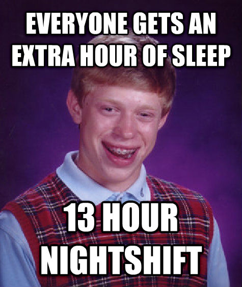 Bad Luck Brian everyone gets an extra hour of sleep 13 hour nightshift , made with livememe meme creator