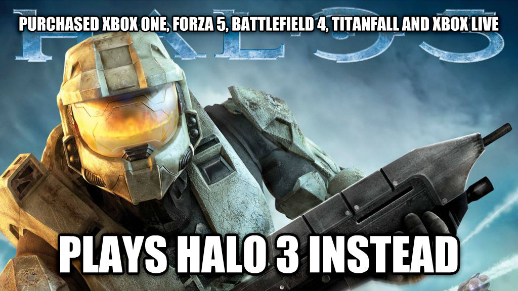 Halo3 purchased xbox one, forza 5, battlefield 4, titanfall and xbox live plays halo 3 instead , made with livememe meme maker