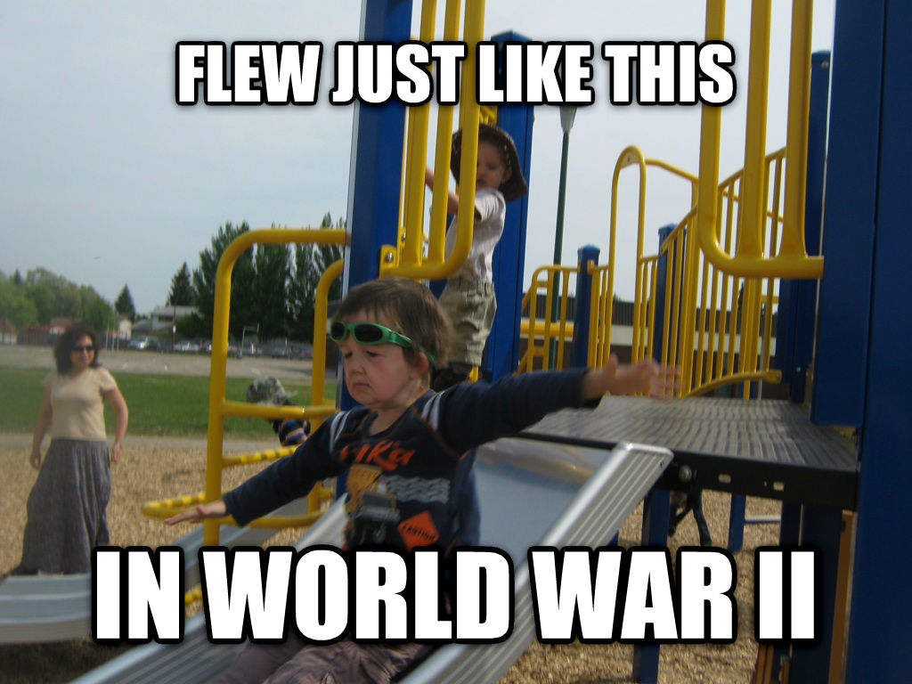 80 Year Old Kid flew just like this in world war ii , made with livememe meme maker
