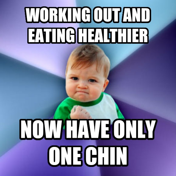 Success Kid working out and eating healthier now have only one chin  , made with livememe meme generator