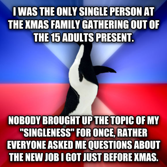 Socially Awkward Awesome Penguin i was the only single person at the xmas family gathering out of the 15 adults present. nobody brought up the topic of my  singleness  for once, rather everyone asked me questions about the new job i got just before xmas.  , made with livememe meme generator