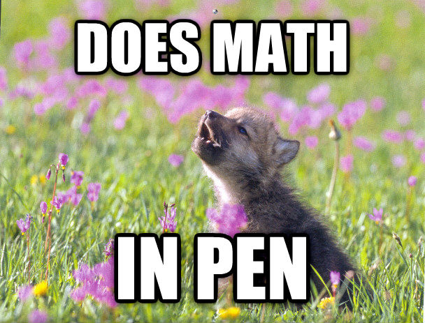 Baby Insanity Wolf does math in pen , made with livememe meme creator