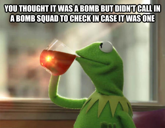 Kermit the Frog - But That s None Of My Business you thought it was a bomb but didn t call in a bomb squad to check in case it was one  , made with livememe meme maker