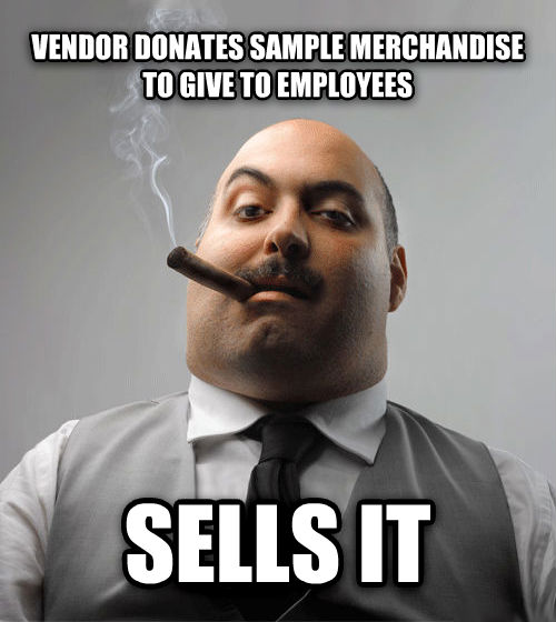 Bad Guy Boss vendor donates sample merchandise to give to employees sells it , made with livememe meme creator