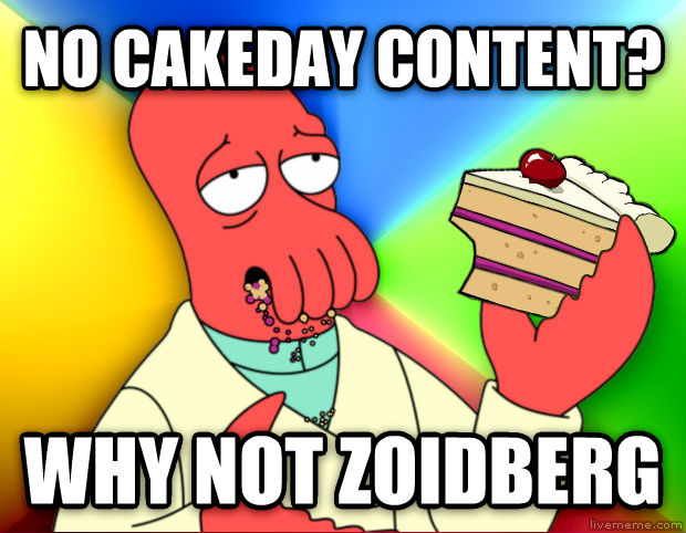 Zoidberg Eating Cake no cakeday content? why not zoidberg , made with livememe meme creator