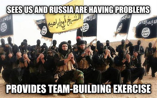 Misunderstood ISIS sees us and russia are having problems provides team-building exercise , made with livememe meme generator