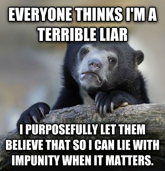 Confession Bear everyone thinks i m a terrible liar i purposefully let them believe that so i can lie with impunity when it matters. , made with livememe meme maker