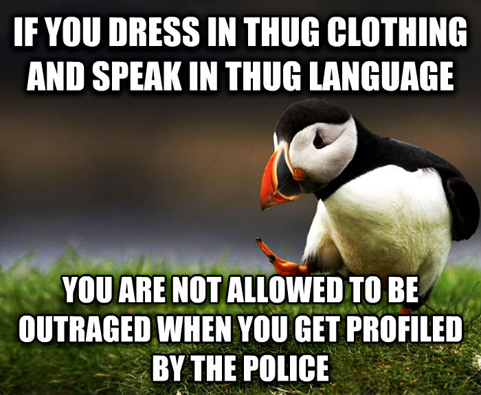 Unpopular Opinion Puffin if you dress in thug clothing and speak in thug language you are not allowed to be outraged when you get profiled by the police , made with livememe meme generator