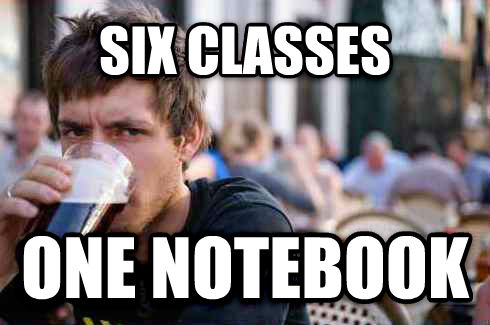 Lazy College Senior six classes one notebook , made with livememe meme maker