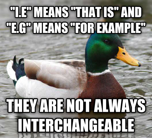 Actual Advice Mallard  i.e  means  that is  and  e.g  means  for example  they are not always interchangeable  , made with livememe meme generator